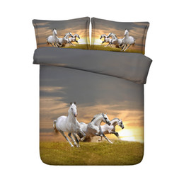 Horse Bedding Sets Twin UK - 3 Pieces Bedding Quilt Comforter Cover For Kids Teen Girls Boys 1 Animal Duvet Cover 2 Pillow Shams No Comforter 3D Galloping Horses