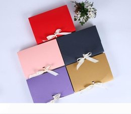 paper clothes NZ - B 26x17.5x3.5cm Large Gift Box Cosmetic Bottle Scarf clothing Packaging Color Paper Box with ribbon Underwear packing box