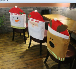 Toy covers online shopping - New Hot Toys New Year Christmas table decoration chair covers articles Snowman Santa Claus Bear hats craft supplies indoor home