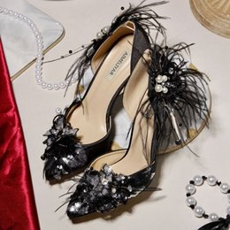 beautiful satin slips Australia - 2019 Luxury Satin Wedding Party Shoes Glitter Pointed Toe High Heel Bride Shoes Black Color Beautiful Feather Banquet Prom Pumps