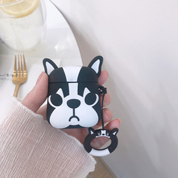 $enCountryForm.capitalKeyWord Australia - For Apple AirPods 3D Cute Bulldog Dog TPU Case Protective Shockproof Charging Portable Earphone Cover Cases with Ring Holder Couple 500pcs