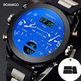 Box Brand Glasses NZ - Men watches BOAMIGO brand 3 time zone army tactical sports watches male LED digital quartz wristwatches gift box relogio masculino