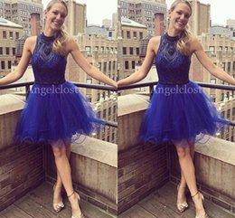 $enCountryForm.capitalKeyWord Australia - Luxury Royal Blue Short Homecoming Dresses 2019 Jewel Sleeveless Above Knee Length Prom Party Cocktail Gowns Major Beaded Graduation Dresses