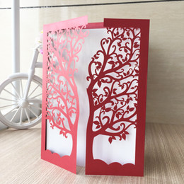 Lavender trees online shopping - 25pcs Beautiful Floral Wedding Invitation Cards Sculpture Tree Envelope Supply To Engagements Valentine s Day Gifts Cards