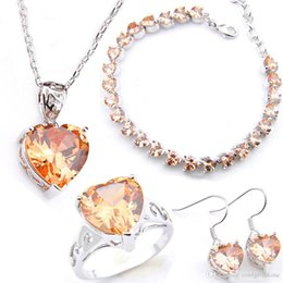 $enCountryForm.capitalKeyWord Australia - LuckyShine Bride Jewelry Set Heart Morganite Earring Pendants Rings Bracelet 925 Sterling Silver Plated Crystal Zircon Wedding Jewelry