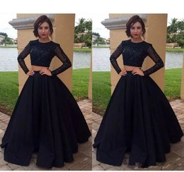 Black Beaded Dress Plus Size Australia - 2019 New Black Two Piece A-Line Prom Dresses Jewel Neck Beaded Satin Tulle Long Sleeves Plus Size Floor Length Party Dress Evening Gowns