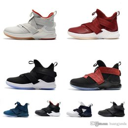 Kids Black Tennis Shoes NZ - Cheap Women Lebron Soldier 12 XII basketball shoes Black Red Bred White Witness Blue Boys Girls youth kids sneakers tennis with box