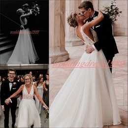 Country models online shopping - Romantic Spring V Neck Wedding Dresses Beads Garden Beach Chiffon Sleeveless Bride Dress Vestido de novia Country Style Bridal Ball Gowns