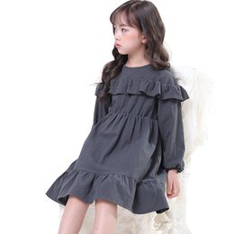 princess baby frocks UK - Chinese Style Simple Dresses Age For 3 - 10 Yrs Baby Girls Long Sleeve Dress 2019 New Spring Winter Princess Costume Gray Frocks J190614