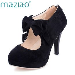 Shoes For Plus Sized Women Australia - MAZIAO Plus size 32-43 fashion vintage woman small bowtie platform pumps ladies sexy high heels shoes for women wedding shoes #9724