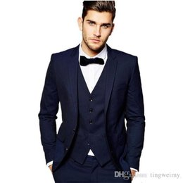 Three Piece Suit Bow Australia - Navy Blue Mens Suits Three Pieces Groom Tuxedos High Quality Man Business Dinner Prom Party Wear(Jacket+Pants+vest+Bow)