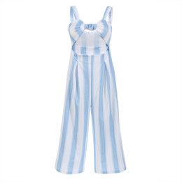Women Jumpsuit Romper Playsuit Australia - Women Clubwear Playsuit Romper Striped Sleeveless Summer Party Jumpsuit Backless Rompers Long Trousers
