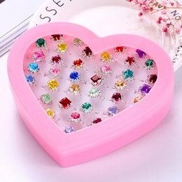 $enCountryForm.capitalKeyWord Canada - Pack Crystal Colorful Adjustable Ring Sets Wholesale Children Rings Cute Finger Jewelry Accessories