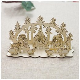 christmas snowman ornaments sale NZ - Christmas Wooden DIY Stereoscopic Decoration Table Ornament Splicing Creative Snowman Tree Toy Fashion Hot Sale 4xba UU