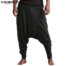 Wholesale baggy crotch hip hop trousers resale online – Men s Harem Pants Drop Crotch Elastic Waist Hip hop Casual Trousers Men Baggy Joggers Pants Men Women oga Pants S XL INCERUN