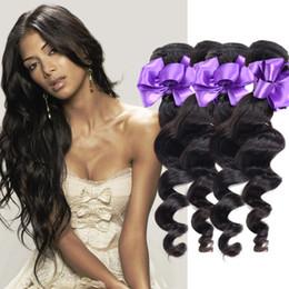 Loose Wave Human Hair Color Australia - 3 Bundle Peruvian Hair Weave Bundle Deals Remy Human Hair Loose Deep Wave Bundles Natural Black Color 8 - 28 inch