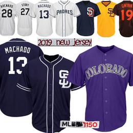 62e065bfb 13 Manny Machado 28 Nolan Arenado San Diego jersey Padres 19 Tony Gwynn  Colorado Baseball jerseys Rockies 27 Trevor Story 4 Meyers 2019