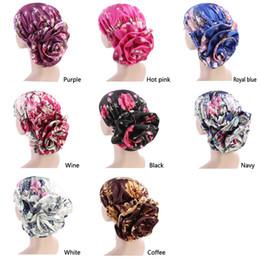 $enCountryForm.capitalKeyWord Australia - Woman Big Flower Turban Hair Accessories Elastic Cloth Hair Bands Hat Chemo Beanie Ladies Muslim Cap for Loss Free shipping