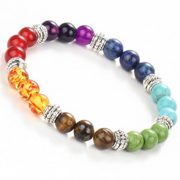 $enCountryForm.capitalKeyWord Australia - Fashion 7 Chakra Bracelet Men Black Lava Healing Balance Beads Reiki Buddha Prayer Natural Stone Yoga Bracelet Women Jewelry