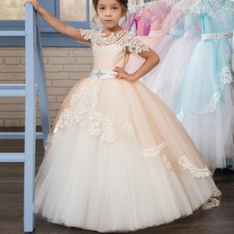 little girls bows Australia - Short Sleeves 2020 Flower Girl Dresses For Weddings Ball Gown Tulle Lace Crystals Bow Long First Communion Dresses Little Girl