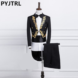 Costumes for singers online shopping - Pyjtrl New Male Gold Silver Embroidery Lapel Tail Coat Stage Singer Groom Black White Wedding Tuxedos For Men Costume Homme