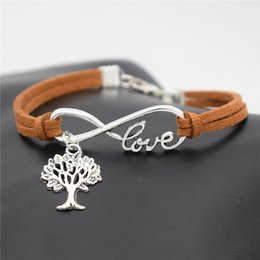 tree life pendant bracelet Australia - Silver Infinity Love Christmas Life Tree Pendant Pendant Charm Bracelets For Women Men Brown Leather Suede Rope Lover Jewelry Pulseras Mujer