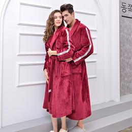 $enCountryForm.capitalKeyWord Australia - Autumn Winter XL Flannel Couple Robe Flannel Velvet Stitching Thickening Long Bathrobe Lingerie Robe Women Clothes 2018 Badjas