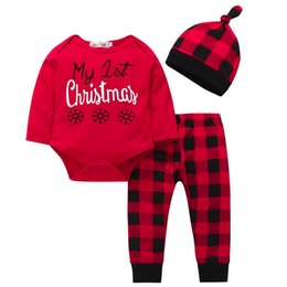 Wholesale ARLONEET Christmas baby set suit Newborn Baby Girls Boys Letter Tops Prin Plaid Pants Cap Clothes Sets L1122