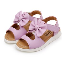 sandals kids NZ - 2-14T Summer baby Girls sandals Children Bowtie Kids Sandals for girl Kids Beach Girls princess shoes white pink purple