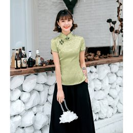 story charms NZ - Shanghai Story Short Sleeve fashion cheongsam top traditional Chinese ladies's cheongsam Top Charming chinese blouse top 2 color