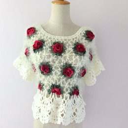 mohair crochet NZ - Handmade Crochet Sweaters Women 2019 Vintage Ethnic Mohair Hollow Out Rose Floral Butterfly Sleeve Pullover White Black 2052
