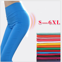 6xl leggings NZ - Shikoroleva Women Leggings Plus Size 5XL 6XL High Waist Stretch Candy Color Pink Blue Brown Red Sexy Pencil Pants Jeggings Lady CJ191206