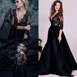 Black Beach Wedding Dresses Australia - Gothic Black And White Beach Wedding Dresses A Line New 2019 Top Full Lace Illusion Bodice 3 4 Long Sleeves Deep V Neck Cheap Bridal Gowns