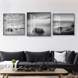 stone art landscaping Australia - Modern Landscape Painting The Sky Stone Wall Pictures for Living Room Black and White Style Canvas Painting Poster Art Home Deco