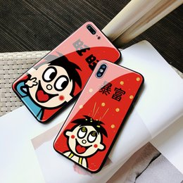 Chinese New Year Paintings Australia - iphoneX mobile phone shell new year Want Want text glass models drop all-inclusive painting processing Apple XSMAX applies