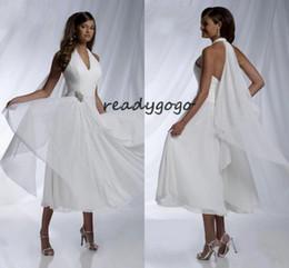 $enCountryForm.capitalKeyWord Australia - Tea-length Short Beach Wedding Dresses with Chiffon Ribbon 2019 Halter Simple Design Crystal Pleated Summer Boho Bridal Wedding Gown