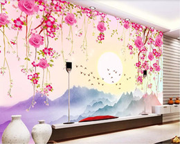 black wall art vines UK - 3d wallpaper custom photo mural Warm romantic flower vine landscape TV background wall Mural on the wall home decor wall art pictures