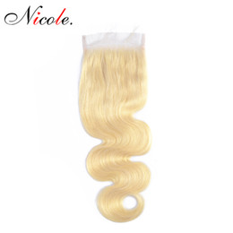 Wholesale nicole for sale – custom Nicole Brazilian Body Wave Blonde Color Lace Closure Remy Hair Inch Free Part Closure Hair For Women