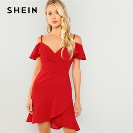 00b36e1a874 SHEIN Boho Red Cold Shoulder Surplice Wrap Ruffle Hem Slim Midi Dress 2019  Summer Spaghetti Strap A Line Sheath