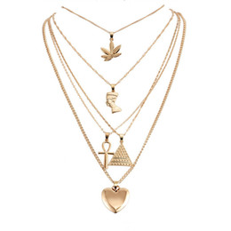 Alloy pyrAmid online shopping - designer necklace Gold Multilayer Necklace Maple Leaf Pharaoh Pyramid Heart Necklaces Wrap Necklaces Pendant Stackings Women Jewelry