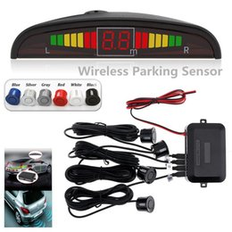 wholesale reverse parking sensors UK - Wireless Car Auto Parktronic Led Parking 4 Sensors Reverse Radar Monitor Detector System Backlight Display Cal _207
