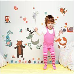Cartoon Retail Australia - Retail 50*70cm hot style children's room cartoon creative happy small animal wall paste