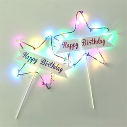 birthday decorations items UK - Coloured Lights Happy Birthday Creative Cake Inserts Paper 1PCS Beautiful Star Lamp Cake Decoration Card Party Items