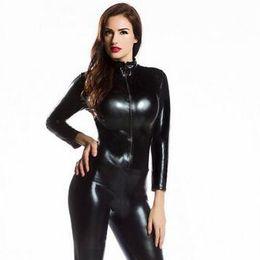 c54d4ed044b Womens Long Sleeve Zentai Bodysuit Jumpsuit Sexy Black Shiny Latex Full  Body Zentai Suit Lycra Spandex Catsuit cosplay