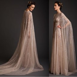 Discount watteau crystal wedding dresses - 2019 Krikor Jabotian Champagne A-Line Wedding Dresses tulle Bridal Gowns Appliques Beads sequined sweep train Watteau Dr