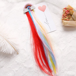 Rainbow coloR haiR wigs online shopping - Rainbow Cloud Side Clip Cute Princess Children Hairpin Color Baby Wig Hair Clip accessory for lovely girls for birthday party Christmas Day