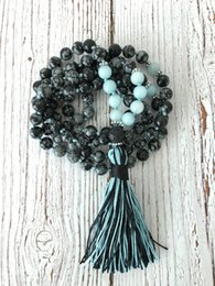 Wholesale 41 inches cm Mala Prayer Beads is carefully handmade with natural genuine Snowflake Obsidian