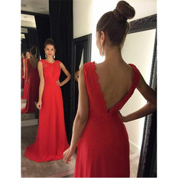 $enCountryForm.capitalKeyWord NZ - Modern Red Chiffon Long Prom Dresses 2019 A-line Scoop Sexy Backless Formal Evening Dress With Applique Vestidos De Festa New Party Gowns