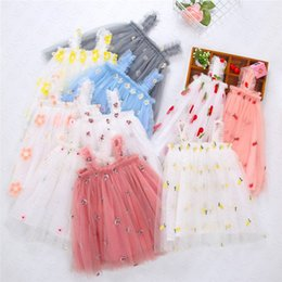 Wholesale cute lolita dresses online – ideas Ins Baby Girls Embroidery Floral Printed Dress Cute Gauze Sleeveless Slip Dress Summer Kids Girls Princess Dresses Children Clothing D61805