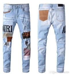Wholesale skinny black man shorts resale online – designer kanye ss Men jeans AMIRI brand jeans mens casual hole shorts washed old patch pants high quality embroidery denim pants feet pants